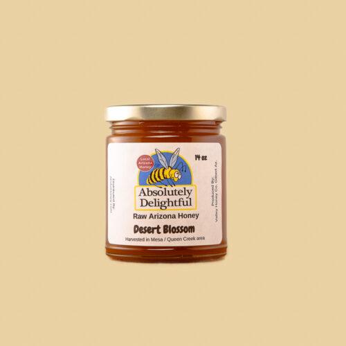 small jar of desert blossom honey