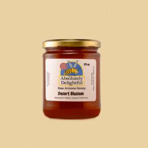 one medium liquid jar of desert blossom honey