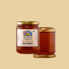 two medium jars of liquid desert blossom honey