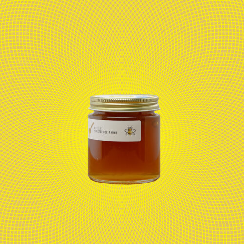 Side View of Twisted Lemon Infused Honey 6oz Jar